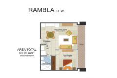 Torre Barcelona - Planta Rambla 63mt2